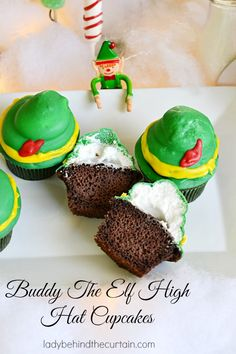 Buddy The Elf High Hat Cupcakes for Christmas
