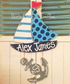 Sailboat with anchor birth announcement door hanger #sailboat #anchor…