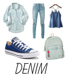 """""""Denim is the new black!!"""" by anjana-akanksha on Polyvore featuring Converse, Billabong, WithChic, Aéropostale, Yves Saint Laurent and Denimondenim"""