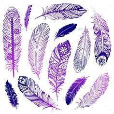 Set of Ethnic Feathers by transiastock Set ofEhnic feathers can be used as a greeting card or for your business Feather Drawing, Watercolor Feather, Feather Art, Feather Design, Feather Tattoos, Dandelion Tattoos, Bird Tattoos, Feather Crafts, Tatoos