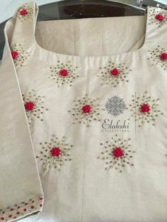 ideas embroidery blouse embellishments for 2019 Embroidery On Kurtis, Hand Embroidery Dress, Kurti Embroidery Design, Embroidery Neck Designs, Embroidery Works, Creative Embroidery, Embroidered Clothes, Hand Embroidery Stitches, Embroidery Fashion