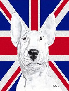 Bull Terrier with English Union Jack British Flag Flag Canvas House Size SC9860CHF