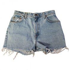 Blue Cotton Shorts LEVI'S (1.105 RUB) ❤ liked on Polyvore featuring shorts, bottoms, levi shorts, blue cotton shorts and summer shorts