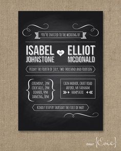Blackboard wedding invitation. $4.00, via Etsy.