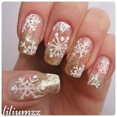 """❄❄snowflake mani with gold tips❄❄ Hand painted snowflakes. Check out my instagram @liliumzz   #nail #nails #nailart #naildesign#nailpolish #nailstagram #manicure #mani #neglelakk #manikyr #instanails #nagellack #nailspiration #nagellack  #notd #nailsoftheday #liliumzz #cutenails #cutemani #nails2inspire #snowflake #winternails #snowflakenails #snowflakemani #winternail #glitterpolish #glitter #christmastheme #christmasmani #frenchmanicure"
