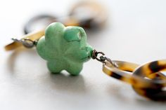 Arm Candy - green turquoise flower celluloid link bracelet - tortoiseshell leopard on Etsy, $26.00