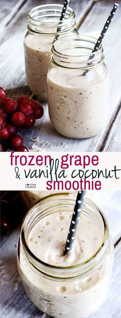 Creamy Frozen Grape and Vanilla Coconut Smoothie #dairyfreesmoothie Stay cool and nourished with this dairy free frozen grape and vanilla coconut smoothie! Super creamy, delicious, and packed full of healthy nutrients!! Great for breakfast or post workout too.
