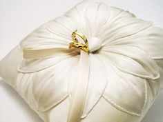 Wedding Ring Pillow Ivory Silk Fleur Stitched by MyThreeAunts, $46.95