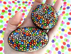 Dot painted Stone Abundance by ArtAndBeing on Etsy