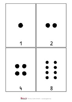 How binary digits work - CS Unplugged Computational Thinking, Coding, Printables, Cards, Education, School, Tips, Kid Games, Print Templates
