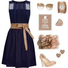 Vestidos azul marino con dorado