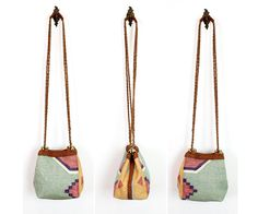 pastel woven southwest bucket bag