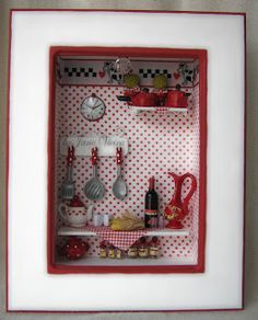 red and white kitchen-my miniature utensils/dishes would look good in display or on shelf