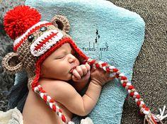 Sock Monkey Hat, Newborn Sock Monkey, Crochet Sock Monkey Hat, Baby Boy - Made To Order by LovelyJC on Etsy