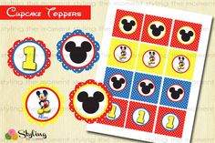 Mickey Mouse Cupcake Toppers and FREE Wrappers by Stylingthemoment, $6.00