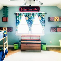 Tracy's makeover of her boys' room is so fun. It's Nintendo themed and she shows us how to make Nintendo brick-like cabinets out of IKEA LIXHULT cabinets. Tap my profile for the link. Follow her at @abeautifulfriendship  .  #nintendo #mariobros #kidsroom #kidsroomdecor