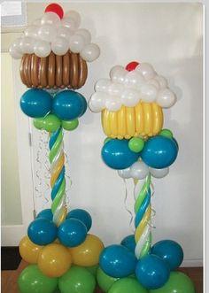 Cupcake balloon columns (No link) Balloon Tower, Balloon Columns, Balloon Arch, Balloon Cupcakes, Cupcake Party, Balloon Arrangements, Balloon Centerpieces, Balloon Crafts, Balloons And More