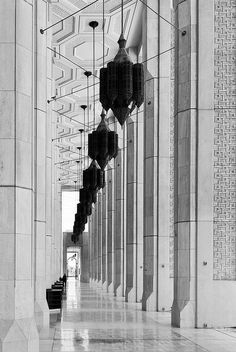 Gorgeous use of black & white. Does anyone know where/what this is? Update: it's Kuwait Grand Mosque. Thanks to notvanilla