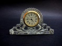 Vintage Glass Table Desk or Mantel Clock by GuestFromThePast
