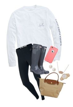 Out and about! by annahbirch ❤ liked on Polyvore featuring Vineyard Vines, NIKE, Kendra Scott, Longchamp, Kate Spade and Hunter