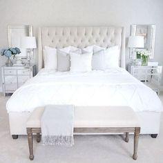 Neutral bedroom white bedroom tufted bed mirrored nightstand arhaus furniture over nightstands bedroom ideas White Bedroom Decor, White Bedroom Furniture, Bedroom Colors, Home Decor Bedroom, Bedroom Ideas, Diy Bedroom, Sofa Furniture, Furniture Design, Mirror Furniture