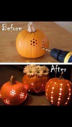 Pumpkin Patterns with a power drill.