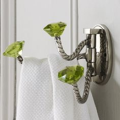 Adjustable Triple Hooks With Green Glass Knobs