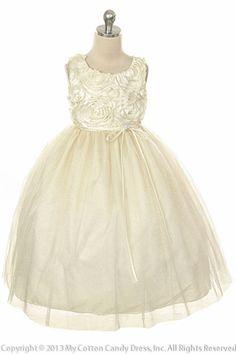 Ivory glitter tulle flower girl dress