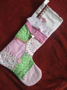 Pink Ballerina Crazy Quilt Christmas Stocking OOAK by fairiesfive, $28.00