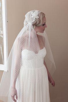 Juliet Cap Wedding Veil Alencon Lace Rhinestone by veiledbeauty, $275.00