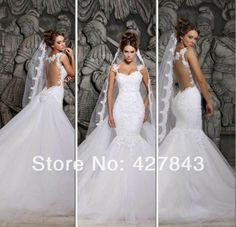 Sexy Spagheeti Strap Lace Applique Detachable Train Bridal Gown Backless Sheer Back  Mermaid Wedding Dress 2014