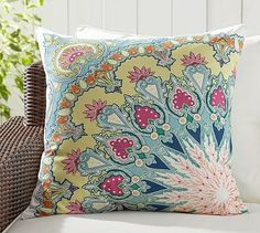 "$50, 24"" square, includes insert. Valencia Paisley Print Indoor/Outdoor Pillow #potterybarn"