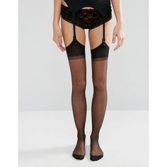 Jonathan Aston Seduction Set Stockings and Suspender ($28) ❤ liked on Polyvore featuring intimates, hosiery, tights, black, bow tights, striped tights, patterned pantyhose, print stockings and semi sheer tights