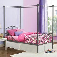 DHP Canopy Twin Metal Bed Heart Scroll Design Girls Room Cute Sleep Bedroom Nite