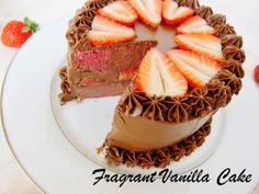 Fragrant Vanilla Cake: Raw Marbled Chocolate Strawberry Cake