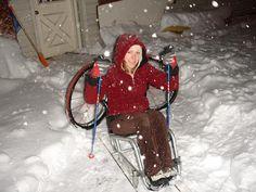 back2sports.net Adaptive Sports Equipment   wheelchair turns into a sit ski!