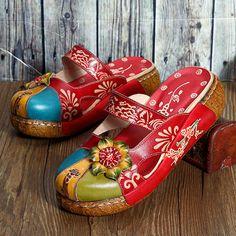ad6ae8934 SOCOFY Sapatos Vintage Coloridos De Couro Sapatos Forais Sem Costas Com  Ocos Sapatos Vintage