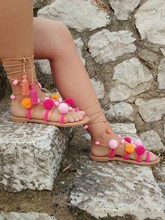 Pom Pom Leather Sandals