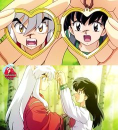 Kagome giving InuYasha a locket with photos from the fight in a photo booth. InuYasha the movie: The Castle Beyond the Looking Glass. I Love Anime, Awesome Anime, Me Me Me Anime, Miroku, Kagome Higurashi, Armin, Diabolik, Otaku, Kagome And Inuyasha