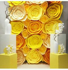 110 best fotos backdrop images on pinterest flower decoration paper flowers in shades of yellow mightylinksfo