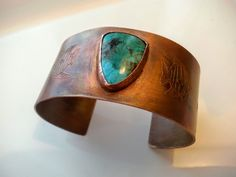 Copper Cuff, Turquoise Cuff, Etched Copper Cuff, Fish Cuff, Starfish Cuff, Flame Painted Cuff by donnaspretties on Etsy