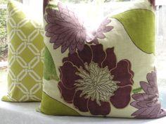 purple, green, pillows, lattice, floral