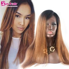 92.32$  Buy here - http://alivwb.worldwells.pw/go.php?t=32445933355 - Remy Full Lace Human Hair Wigs #1b/30 Stocked Straight Lace Front Wigs Baby Hair Glueless 7A Two Tone Human Hair Lace Front Wigs