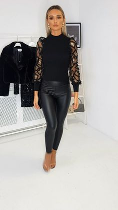 Our TASSA jumper features long sleeves with mesh detailing, gold sequine, a crew neckline and has a oversized fit,… Look Fashion, Womens Fashion, Leather Pants, Leather Jackets, Black Leather, Shiny Leggings, Sexy Jeans, Classy Dress, Cool Outfits