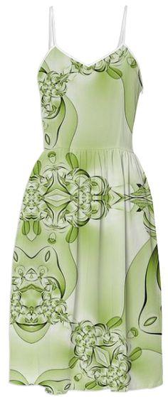 Green on Green Abstract Summer Dress by godwinsenterprises