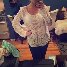 Adorable Eggshell lace blouse Brand unknown- but off white/eggshell long sleeved lace top. Just so pretty. Tops Tees - Long Sleeve