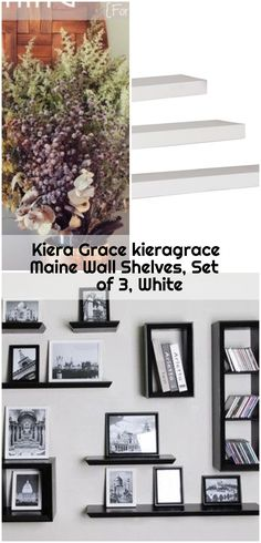 Kiera Grace kieragrace Maine Wall Shelves, Set of White , Kiera Grace Maine 12 in. W x 5 in. D, 16 in. W x 5 in. D and 24 in. W x 5 in. Ikea Billy Bookcase Hack, Wall Shelves, Maine, Gallery Wall, Hacks, Frame, Home Decor, Picture Frame, Decoration Home