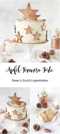 Apfel-Tiramisu-Torte mit essbarer Sterndeko in kupfer