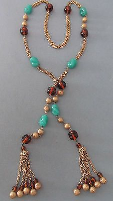VINTAGE 1930s ART GLASS BEAD BRASS FRINGE DANGLE LARIAT LONG NECKLACE