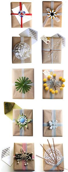 Major package inspiration: brown craft paper (my fav!) with big bold bows.